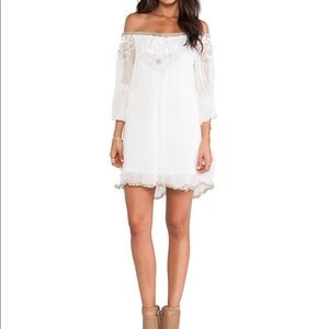RARE Free People ivory silk beaded boho dress, S